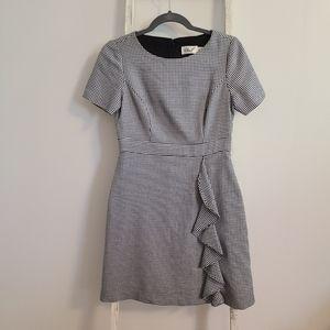 Eliza J♡ Short Sleeve ruffle houndstooth dress